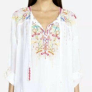 Johnny Was Dragonfly Embroidered Blouse Boho Top